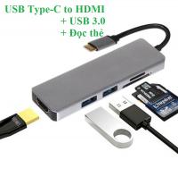 Cáp USB Type-C to HDMI + USB 3.0 Hỗ trợ đọc thẻ nhớ 5 in 1