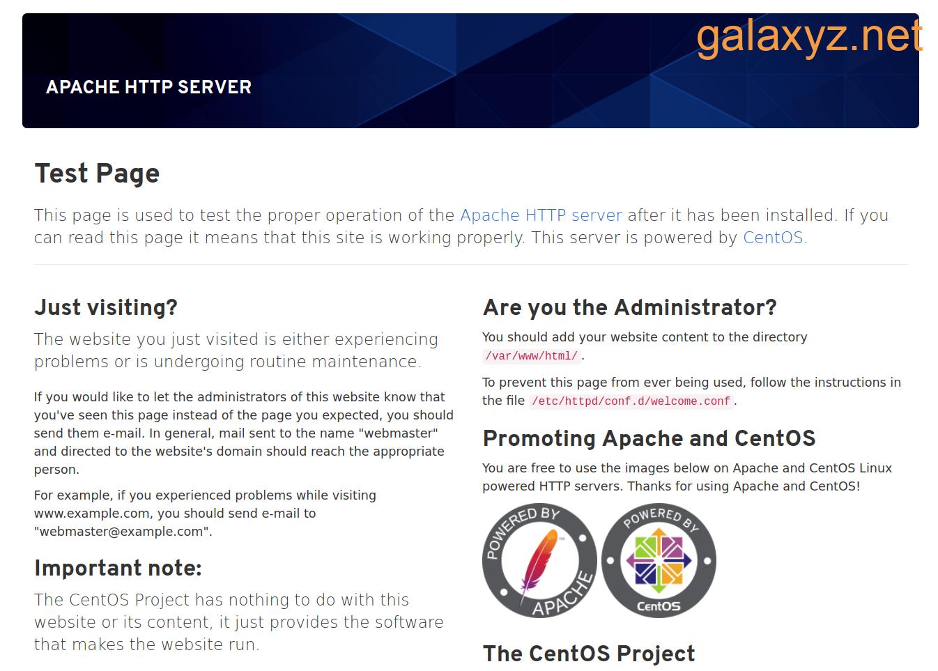 Trang Apache mặc định CentOS 8