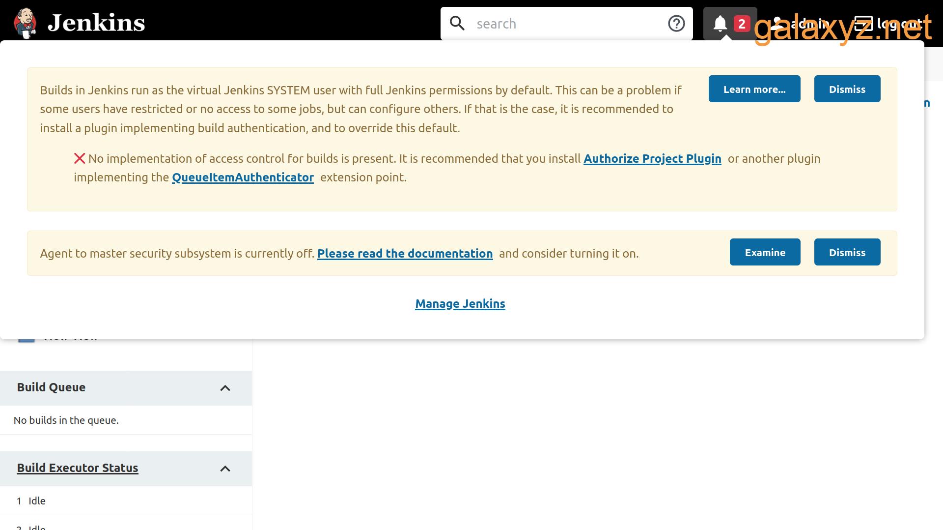 Trang tổng quan Jenkins hiển thị menu thông báo có hai vấn đề