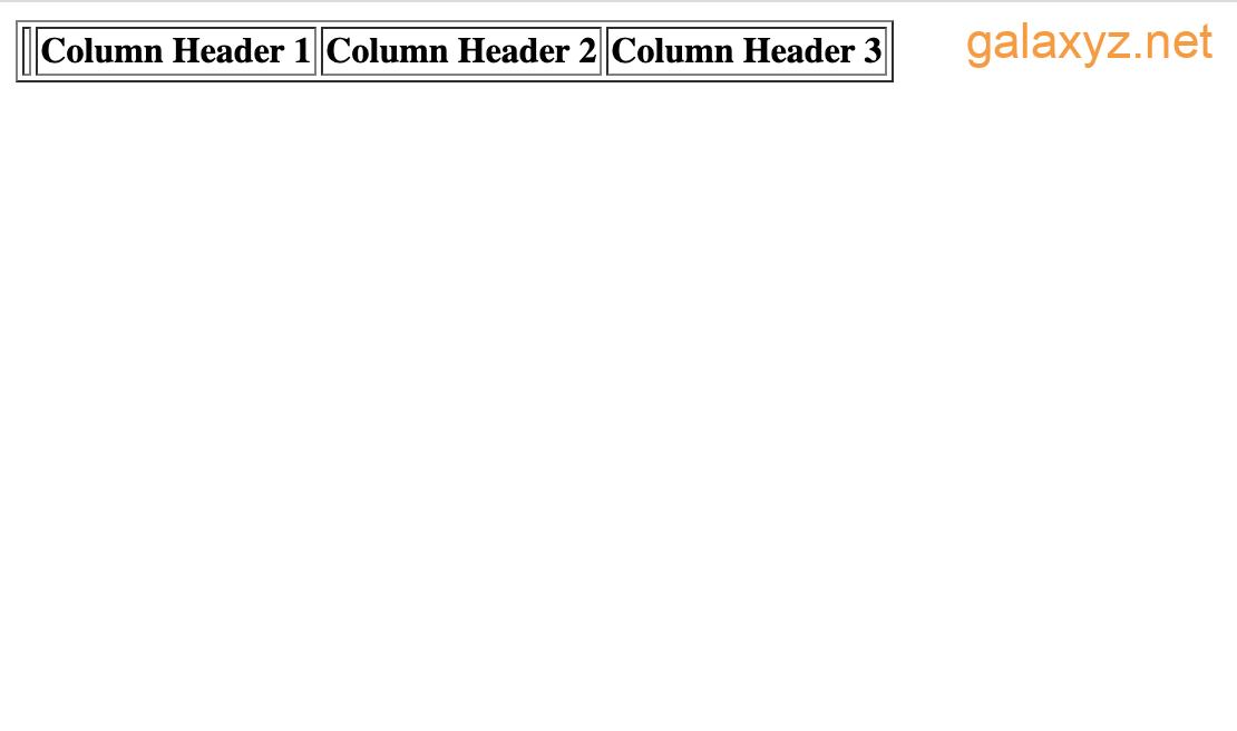 Trang web hiển thị tiêu đề cột HTML